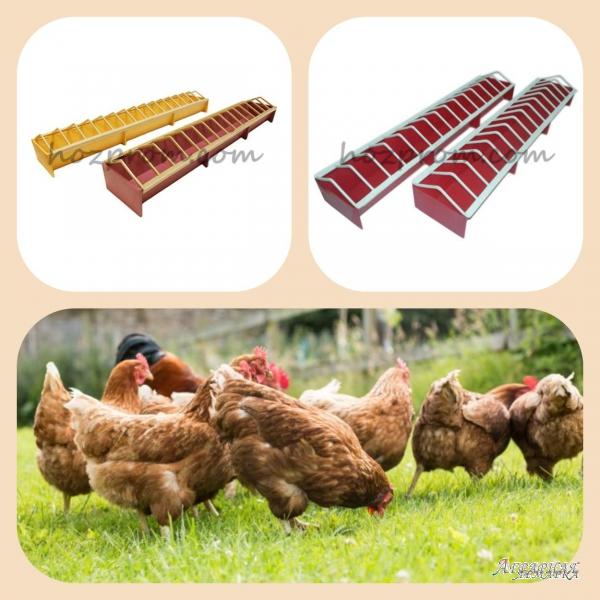 Для домашней птицы:  лотковая кормушка экономит корма
